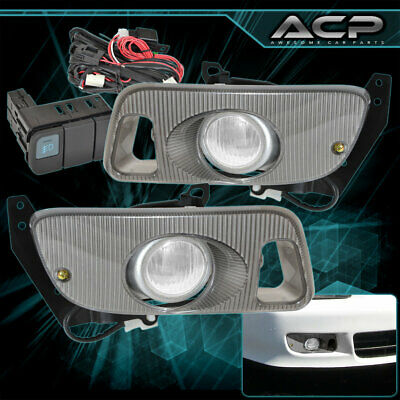 Clear Fog Lights Bumper Lamps+Switch For Honda 92 93 94 95 Civic 2Dr Coupe Ej1