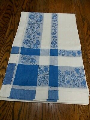 """Vintage White Damask Linen Tablecloth with French Blue Double Boarder 66"""" x 98"""""""