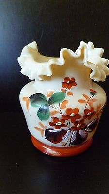 Antique Victorian Bohemian Art Glass Vase Hand Painted With Enamel