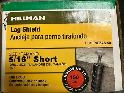 "Lag Shield 5/16"" Short 50 pc #370191 Holds 150 Lbs New Box Free Shipping!"