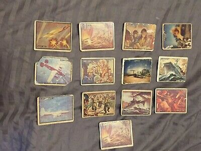 Lot of 13 1950 Topps Freedom's War Cards Battleground Korea & Arsenal