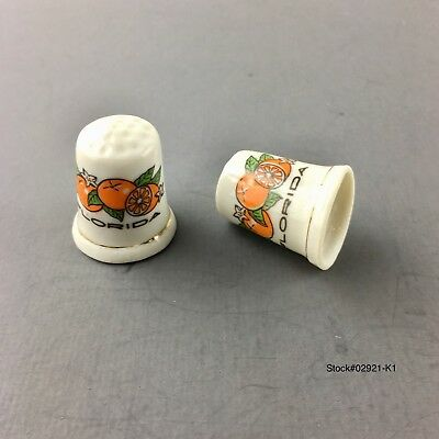 LOT OF 2 FLORIDA Thimble souvenir with oranges gold trim over 1-1/4 inch tall.