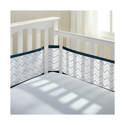 Breathable Baby Universal Crib Bumper Keep Baby Safe From Suffocation Navy/White