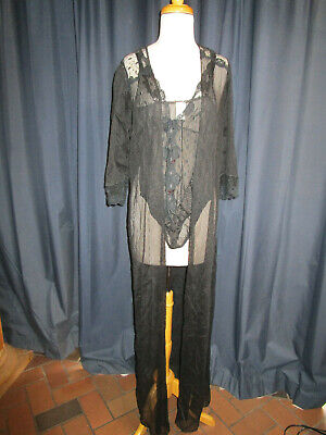 VTG 80's FREDERICKS Of HOLLYWOOD Sheer BLACK TEDDY AND  ROBE small Rock n Roll