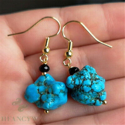 14x16mm Natural Turquoise Earrings 18k Ear Hook Women Jewelry Gift Clasp Classic