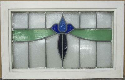"OLD ENGLISH LEAD STAINED GLASS WINDOW TRANSOM Stunning Floral Sweep 31"" x 19.75"""