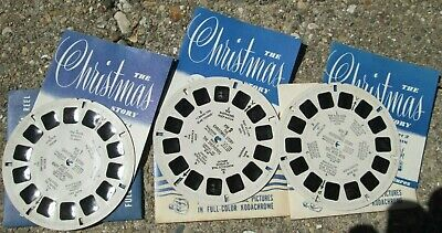 Vintage 1948 View-Master 3 Reel Set The Christmas Story XM-1 2 3 + Booklets