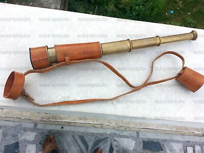 Antique Maritime Telescope Navy Nautical Collectible Marine With Leather Cover