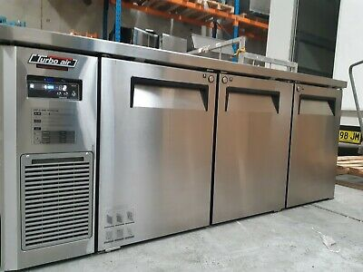 3 Door Under Bench Commercial Fridge Stainless Steel Self Contained Turbo Air