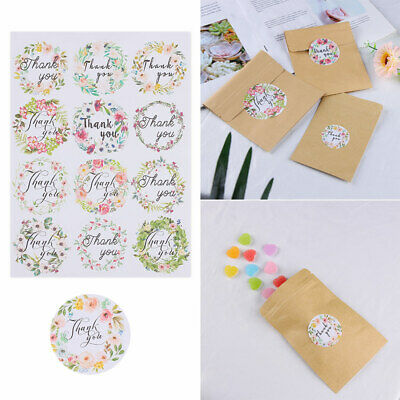 Craft Circular Floral Flower Paper Stickers Thank You Sealing Sticker Packaging