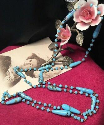 Antique Art Deco Aqua Blue Flapper Length Art Glass Spindle Bead Necklace