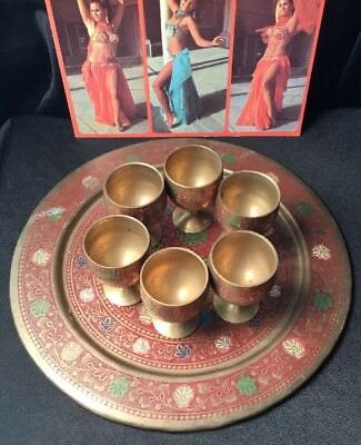 Vintage Collectable Middle eastern brass folk Art Etched Enamel Cup Tray Set