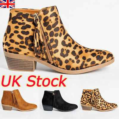 UK Womens Ladies Ankle Boots Tassel Low Heel Block Chunky Booties Shoes Size 4-7