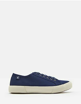 Joules Womens Coast Pump Canvas Lace Up Trainers in FRENCH NAVY