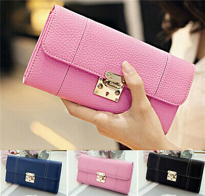 Fashion Women's Leather Long Bifold Wallet  Clutch Handbag ID/Card Holder Purse