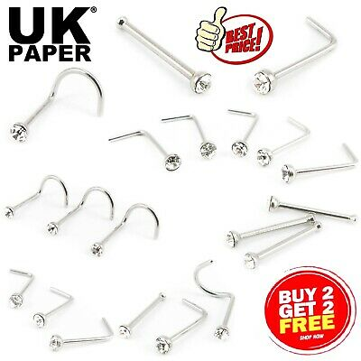 Uk Silver Nose Stud Straight I L Screw Shape Surgical Steel Set Pin Bar Piercing