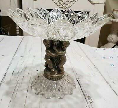 Vintage Cut Crystal Glass on Brass Metal Pedestal Cherubs Compote Dish Bowl
