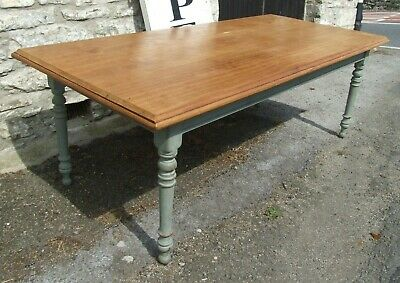 Antique Victorian farmhouse kitchen TABLE 7ft beech top painted base
