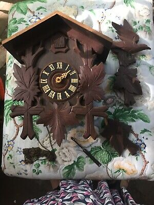 Large  Antique Black Forest Musical Cuckoo Clock for Parts/Project