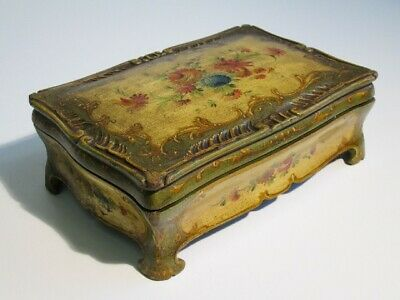 Antique Box Box Domed Years' 50 in Wood with Painted Floral