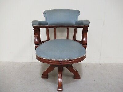 Antique Mahogany Swivel Captains Office Chair Very Good Quality Edwardian