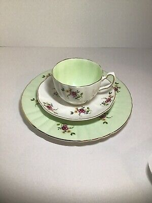 Royal Grafton Cup, Saucer And Plate. Mint Green Gold Gilding And Flowers (1790).