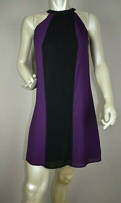 H&M Pleated Purple/Black Silky Polyester Dress Size 4 pre-owned
