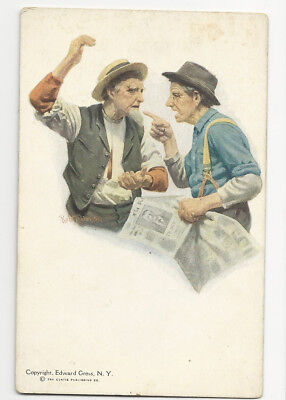 Circa 1904 Postcard Two Old Guys Arguing About President Theodore Roosevelt