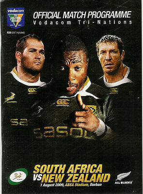 SOUTH AFRICA v NEW ZEALAND 1 Aug 2009 at Durban RUGBY PROGRAMME