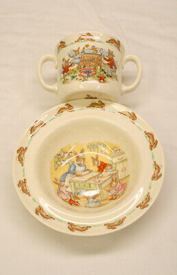 "ROYAL DOULTON ""BUNNYKINS"" CUP AND BOWL SET ENGLAND fine bone china"