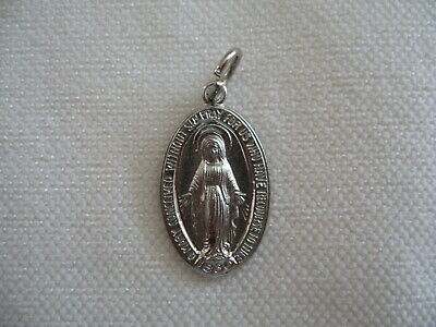 Traditional Silver Vintage Religious Catholic MIRACULOUS Mary MEDAL Pendant