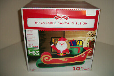 NEW Airblown Inflatable Lighted Santa Sleigh Presents 10 Feet Long Holiday Time