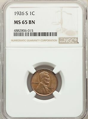 1926-S US Lincoln Wheat Cent 1C - NGC MS65 BN