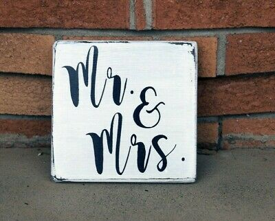 MR & MRS - Rustic Wood Sign Distressed White Entry Living Room Wedding Decor