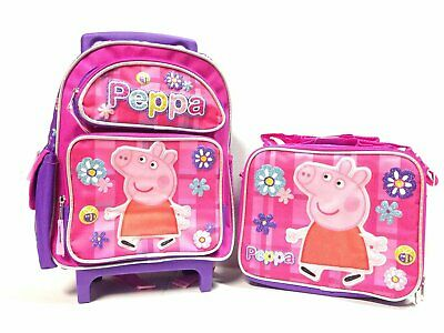 """Peppa the Pig Flowers 16"""" Rolling Backpack & Peppa Pig Matching Lunch Bag-New!2"""