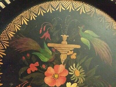 """Antique 10"""" Round Hand-Painted Tin Serving Tray Platter W/Birds Flowers Fountain"""