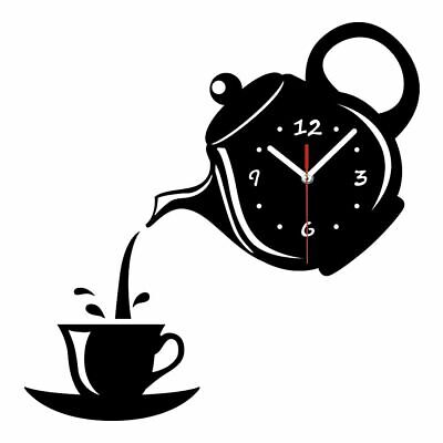 Creative 3D Wall Clock Acrylic Coffee Cup Teapot Kitchen Living Room Home Decor