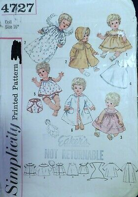 "Vtg 1950s Simplicity 4727 Doll Clothes Wardrobe Sewing PATTERN 16"" Betsy Wetsy"