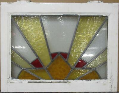 "OLD ENGLISH LEADED STAINED GLASS WINDOW Gorgeous Geometric Sun Burst 21"" x 16"""