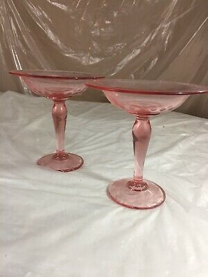 """Vintage Pink Depression Glass Footed Compote Candy Dish 7"""" Tall Etched Set Of 2"""