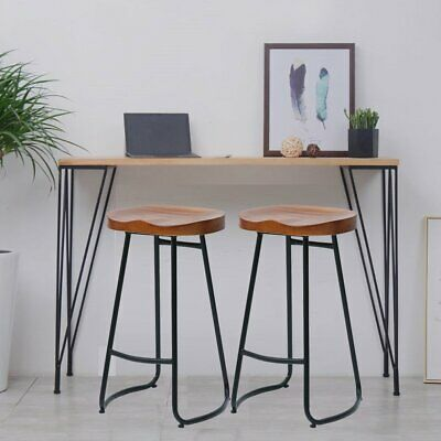 2PCS Vintage Bar Stool Metal Wooden Industrial Retro Seat Kitchen Pub Counter Fl