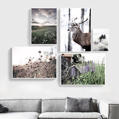 Deer Flower Grass Nature Landscape Poster Canvas Art Print Nordic Decoration