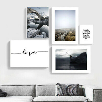 Love Quotes Bridge Nature Landscape Poster Canvas Art Print Nordic Decoration