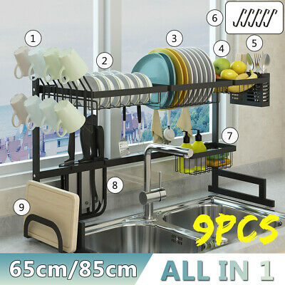 2 Tier Large Capacity Drainer Dish Drying Rack Kitchen Storage Stainless Steel ❤