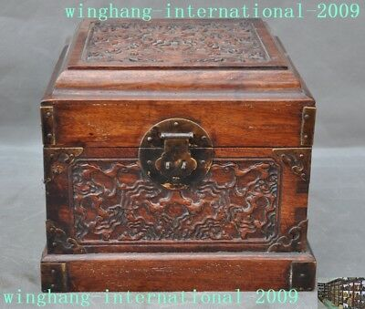old Chinese antique huanghuali wood carving auspicious pattern storage box boxes