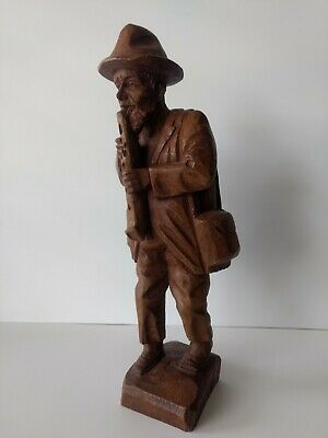 Wooden Carved Old Man Playing Flute