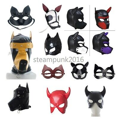 Animal Inspired Leather/PU Head Harness Ears Eye Mask Cover Sexy BDSM Roleplay