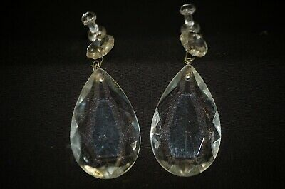 Pair of Clear Crystal Teardrop Prism Chandelier Pendant Replacement Parts 2""