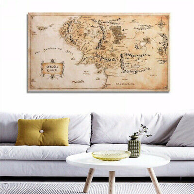Map Of Middle Earth Lord Of The Rings Silk Cloth Poster Art Wall Sticker Decor