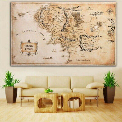 110x60CM Map of Middle Earth Lord of The Rings Silk Cloth Poster Art Home Decor